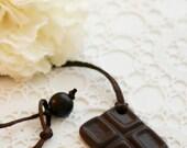 dark chocolate ceramic pendant