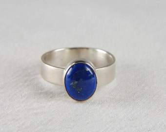 Lapis Ring Wide Band Ring Artisan Ring Handmade Gemstone Ring Bezel Ring Lapis Lazuli Ring Lapis Jewelry
