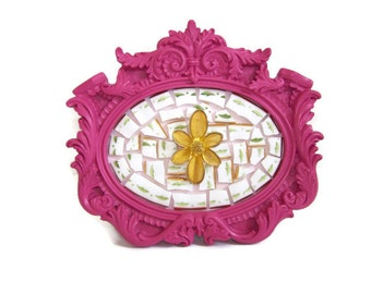 Gold Tone Flower Brooch Mosaic Picture