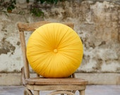 Yellow cotton round pillow 16""