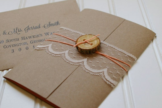 Cheap Shabby Chic Wedding Invitations: Rustic Wood Slice And Lace Wedding Invitations: Unique