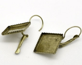 6 VINTAGE BRONZE Earring Finding Lever-Backs For 16x16mm SQUARE Flat Back Jewelry Design