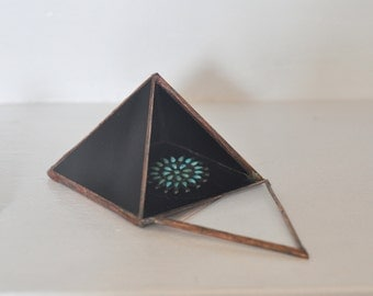 Magus Pyramid Display Box, medium - black glass pyramid - jewelry box - hinged - silver or copper - eco friendly