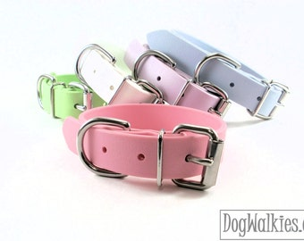 "Bubblegum Pink - 1"" (25mm) Wide - Biothane Dog Collar - Leather Look and Feel - Pastel Pink - Stainless Steel or Brass hardware"