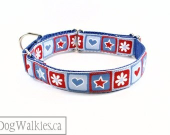 "Red, White and Blue Stars Dog Collar // 1"" (25mm) Wide // Plastic Quick Release or Martingale Dog Collar // Daisy // Heart // Star"