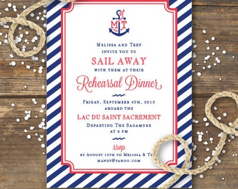 Nautical Rehearsal Dinner Invitation Printable - Anchor Wedding