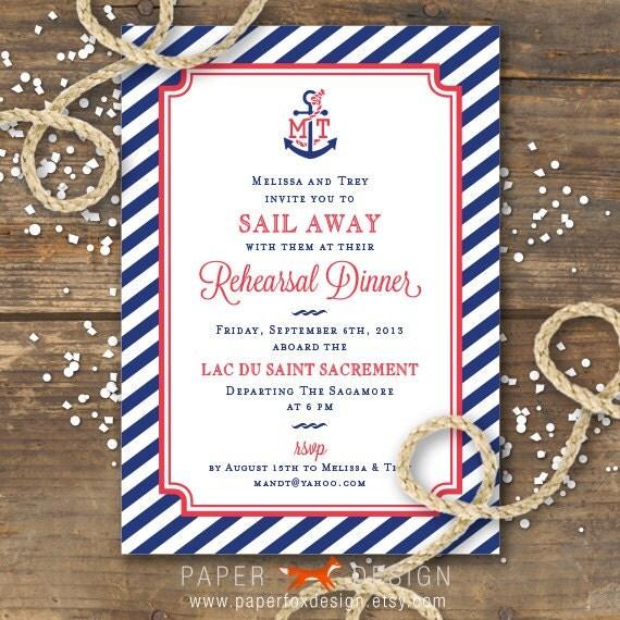 Nautical Rehearsal Dinner Invitation Printable Anchor