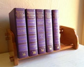 Wooden Book Rack Wood Book Shelf with Book Ends
