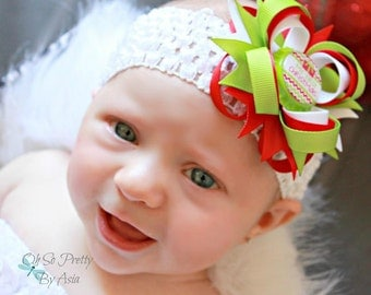 Baby First Christmas Hair Bow - My First Christmas Headband - Christmas Hair Bow - Red and Green Hair Bow - Christmas - Newborn Hair Bow