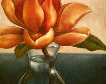 Original Oil Painting Golden Magnolia