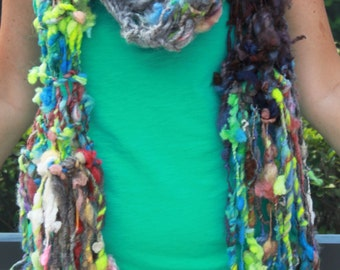 Hand Knit Scarf, in Rescue Farm Wool in Blues, Gray and many Multi Colors, Handspun  with Raw Wool