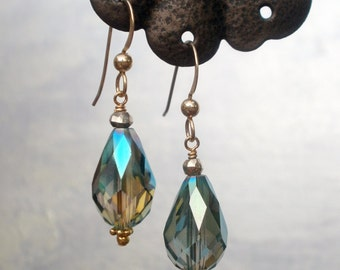 Peacock Crystal Teardrops on gold-filled earwires
