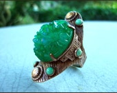 Vintage Art Deco Turquoise and Green Floral Molded Czech Glass Adjustable Statement Ring Nemco FREE SHIPPING