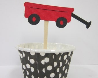Little Red Wagon Cupcake Toppers Picks