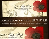 Facebook Timeline Cover Image - Customizable Premade Poppy Vintage Ephemera Design- DIY Online Editor