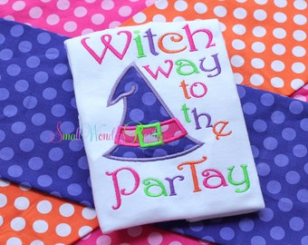 Witch Way To The Partay Embroidered Shirt - Halloween Shirt - Girls Halloween Shirt - Witch Hat - Witch Shirt