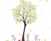 """Nursery Tree Wall Decal Baby Kids Room Decor Wall Art Decals Cute Rabbit Animal Stickers Boys Girls Large Mural Removable Vinyl Sticker 77""""H"""