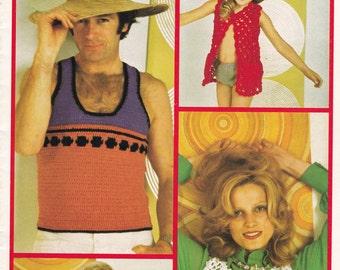 On Sale - Patons Family Crochet  - Get Set for Summer in Sunspun - Vintage 1970s Crochet Pattern No  384