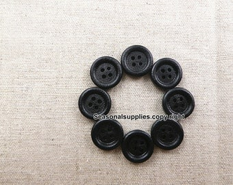 zakka Buttons,black Wooden buttons,Nature Style,Round,15mm Diameter -(8 in a set) (FN77)