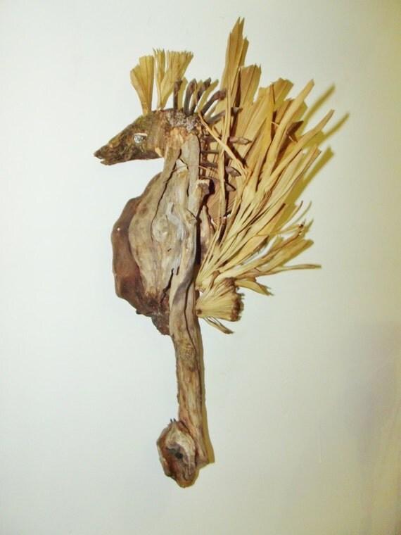 "Sea Horse 8""-10"" Custom Made to Order, Driftwood Mixed Media Beach House, Baby's room, Custom Sculptured Gift"