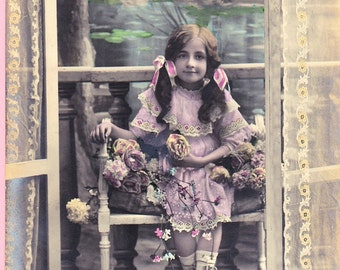 Ca 1909 Hand-Tinted French Victorian Friendship Greeting Postcard - 1008