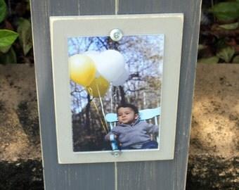 Keyholder Frame, Dark Grey Frame, 4 x 6 Picture Frame, Distressed Wood Picture Frame, Leash Holder