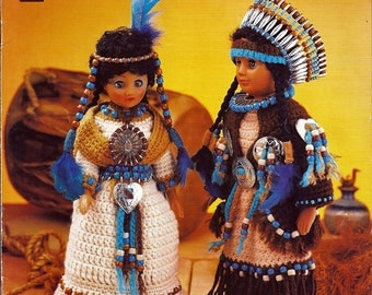 Indian Brave & Maiden Crochet Doll Clothes Pattern -   Annies Attic 8B072