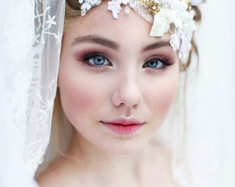 My Emmelie of the forest headpiece - Romantic bridal hair piece with lace, rhinestones, flowers and pearls