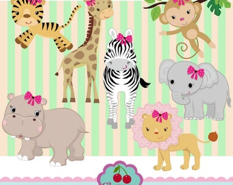 Girls Jungle Animals Digital Clipart Set 02 -Personal and Commercial Use-paper crafts,card making,scrapbooking