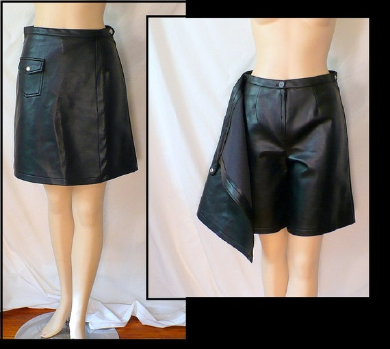 S Mod Scooter Skort 60s Vintage Black Pleather Shorts Skirt Small 4