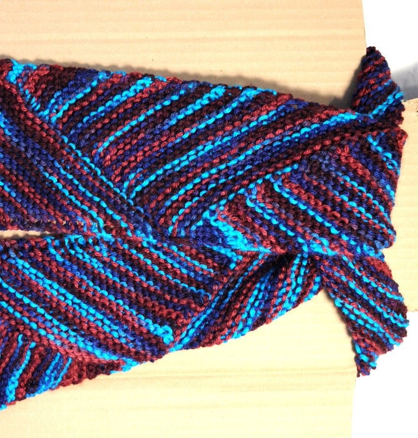 Multi Colored Scarf Knitting Pattern : Blue Knit Scarf Multi Color Knitted Scarf by knitonestitchtoo