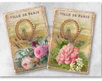 Digital Images - Digital Collage Sheet Download - Vintage Paris Images -  954  - Digital Paper - Instant Download Printables