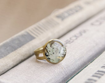 Real Lichen ring - grey handmade resin jewelry - Hypogymnia physodes