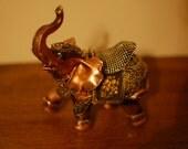 Bronze Elephant Decor Gold Metallic Black Decor India Moulin Rouge Edwardian Antique Vintage Knick-Knack Curiousity
