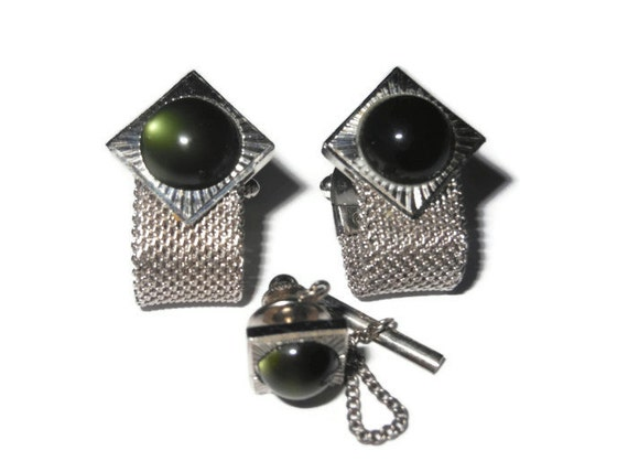 Anson green mesh cufflinks and tie tack set silver tone in box 1970s