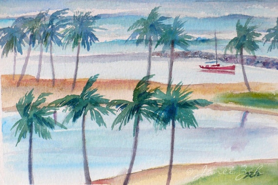Tropical Art Original Watercolor Seascape Painting Hawaii Waikiki Beach Harbor 5x7 by Janet Zeh