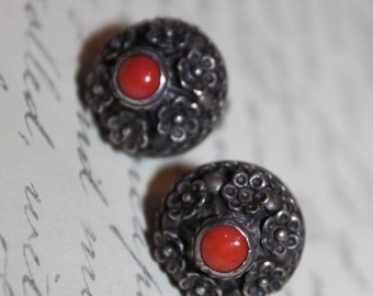 1900 Sterling and Coral Earrings, Italy