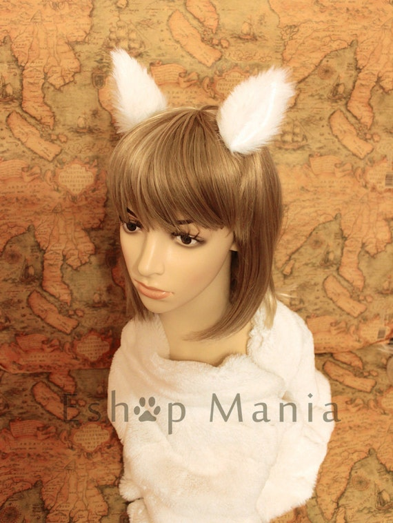 WHITE Cat ears hair clip, 8.5 cm tall, white lining, Elf Gothic Hair Clip Cosplay Costumes Party