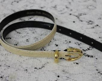 Vintage Joan Harper Blonde Genuine Snakeskin Skinny Belt Size Medium