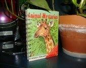 """6.5"""" x 4.5"""" Upcycled Vintage Childrens Animal Mysteries Book notepad journal sketch pad"""