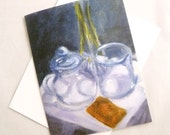 Tea Time Note Card (blank inside) - Fine art reproduction