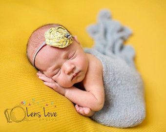 Yellow and Grey Rosette headband, grey headbands, newborn headbands, rosette headbands, photography prop