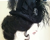 Victorian Tall-Crown Hat, Black on Black - Mourning, Steampunk, Gothic, Bustle, SASS, Cowboy Shooting, Victorian Teas, Dickens Festival