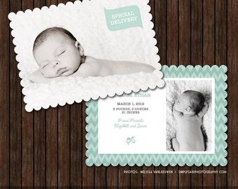 5x7 Chevron Birth Announcement Card Template - B41