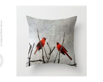 Two Red Cardinals in Tree Branches Urban Decor Bare Branches Grays Pop of Red Throw Pillow Cover