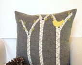 Spring Decorative Pillow / Rustic Cabin Pillow / Birch Tree Pillow / Yellow Bird Pillow - AwayUpNorth