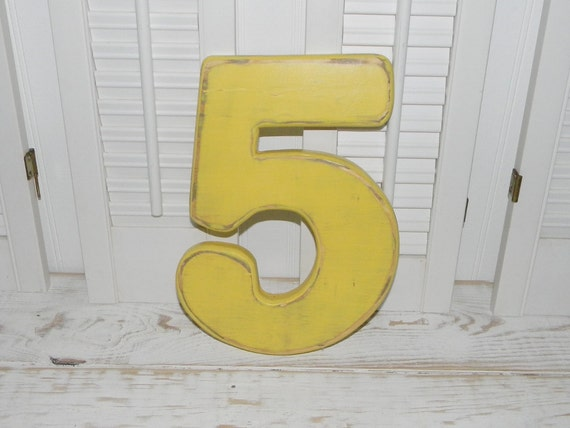 Number 5 distressed numbers wall decor birthday party photo for Number 5 decorations