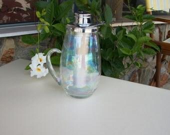 Vintage Opalescent Glass Pitcher with Freezer Tube/Vintage Glass Pitcher/Water Pitcher/Mid-Century/Clear Glass/Server/Beverage Dispenser