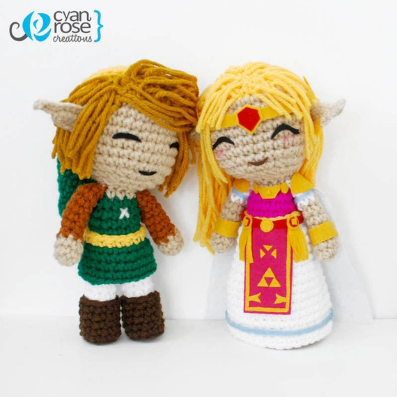 Link and Zelda Inspired Crochet Amigurumi Plush Dolls