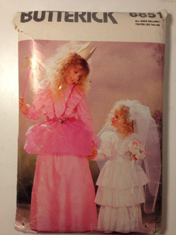 Butterick Sewing Pattern 80s 6851 Girls Princess and Wedding Dress Costumes Pattern Size S, M, L, XL